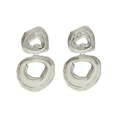 Leigh Miller Double Whirlpool White Bronze Earrings