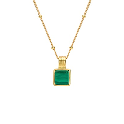 Square Malachite Necklace