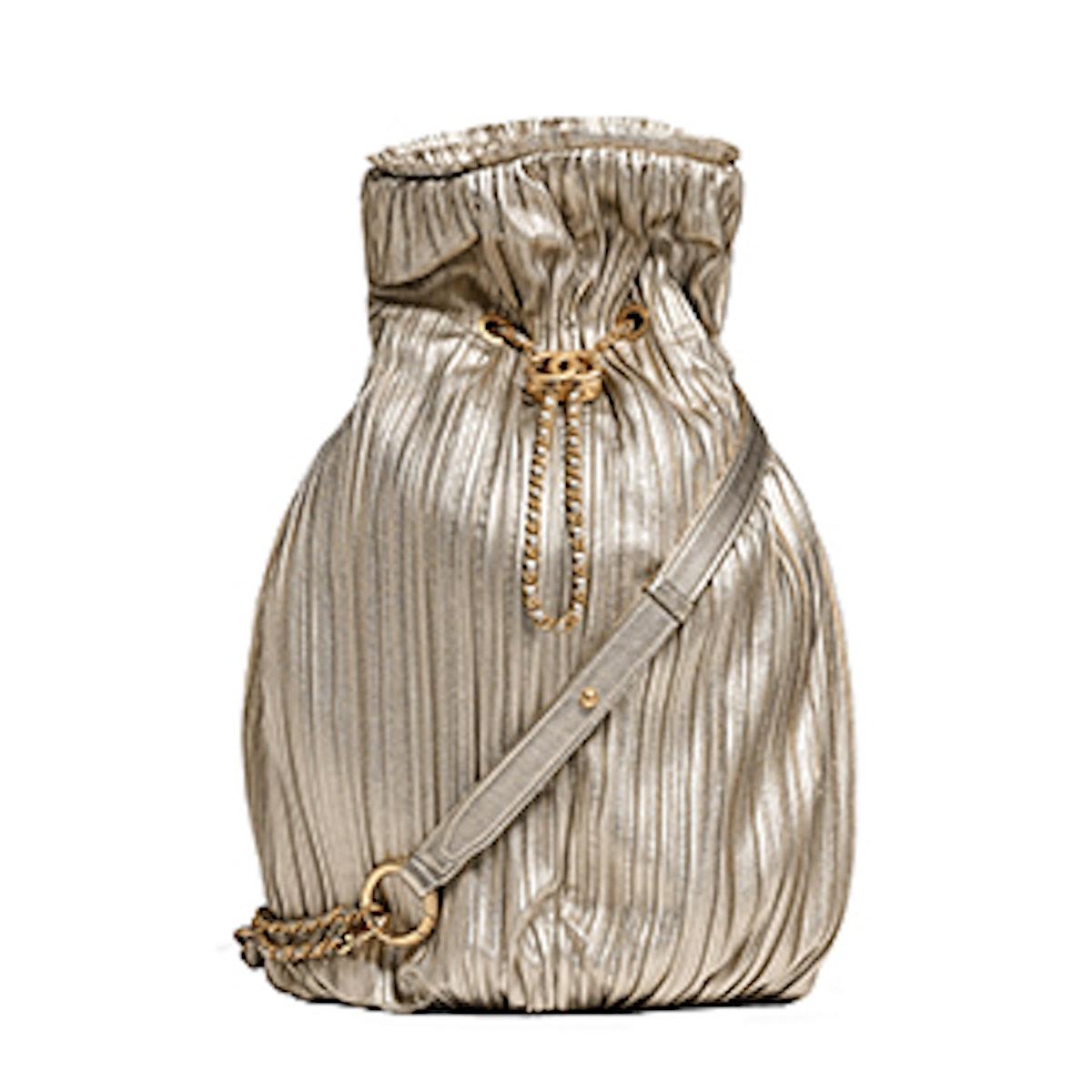 Pleated Iridescent Crumpled Calfskin & Gold-Tone Metal Backpack in Bronze