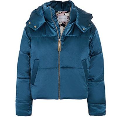 Stella Hooded Quilted Silk-Satin Jacket