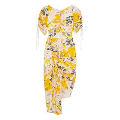 Soiree Cutout Floral-Print Silk-Crepe Dress