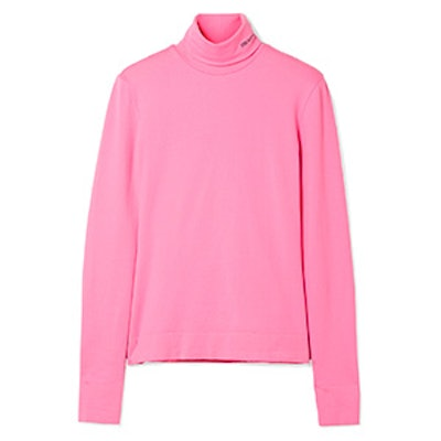 Embroidered Cotton-Jersey Turtleneck Top
