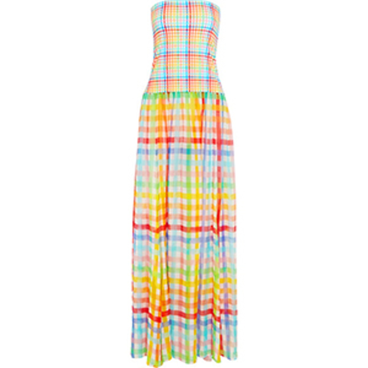 Marianna Strapless Gingham Cotton Jersey and Silk-Chiffon Dress
