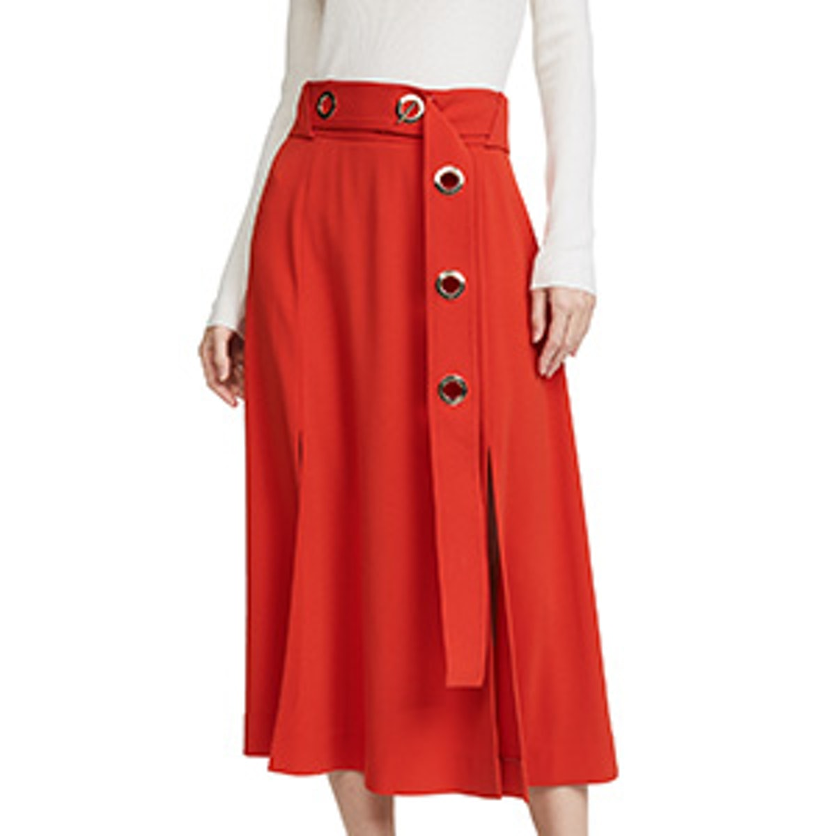 Belted Midi Skirt with Slits