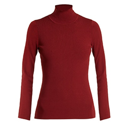 Roll-Neck Stretch-Knit Top