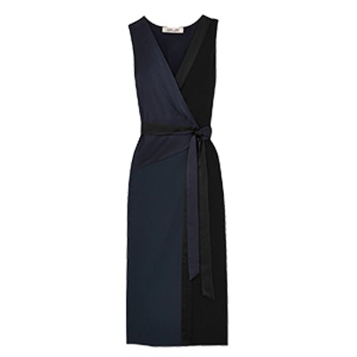 Alexander Two-Tone Crepe and Satin Wrap Midi Dress
