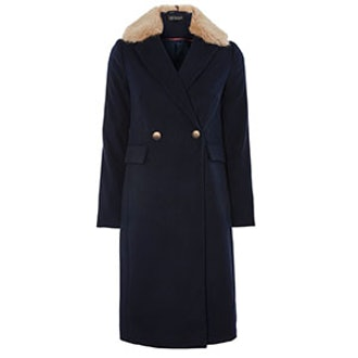 Faux Fur Collar Tuck Waist Coat