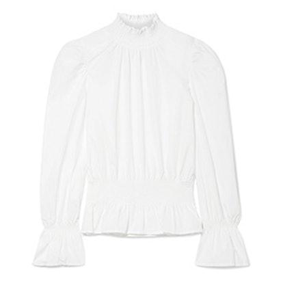 Smocked Cotton-Poplin Blouse