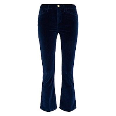 Velveteen Cropped Cotton-Blend Velvet Flared Pants