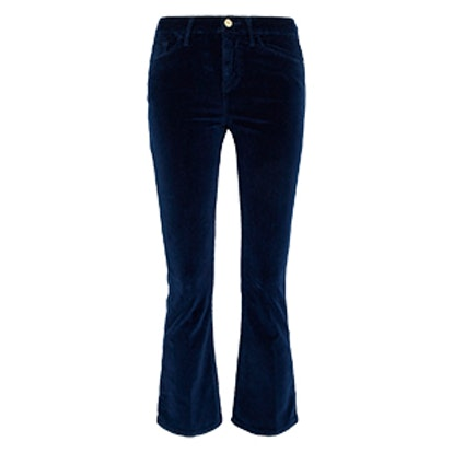 Velveteen Cropped Cotton-Blend Velvet Flared Pants