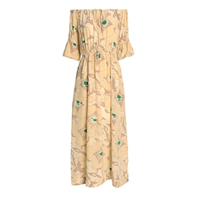 Off-The-Shoulder Gathered Printed Silk Maxi Dress