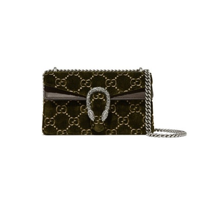 Dionysus Leather Trimmed Embossed Velvet Shoulder Bag