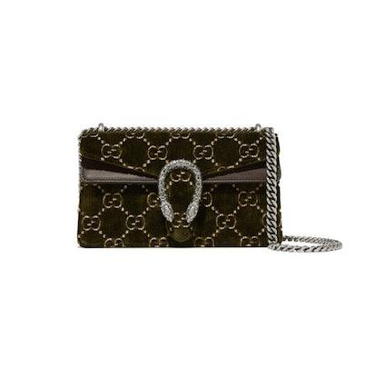 Dionysus Leather Trimmed Embossed Velvet Shoulder Bag