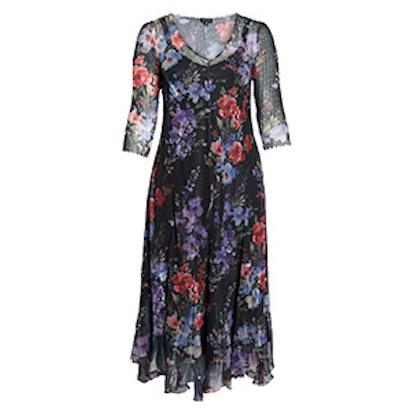 Lace & Charmeuse Floral Print Maxi Dress