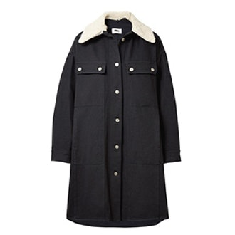 Oversized Faux Shearling-Trimmed Cotton-Blend Drill Coat