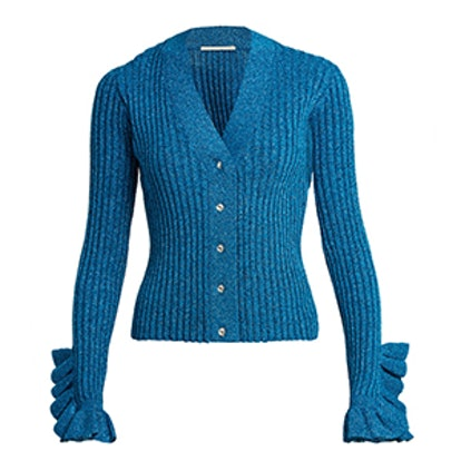 Ruffled-Cuff Ribbed-Knit Cardigan
