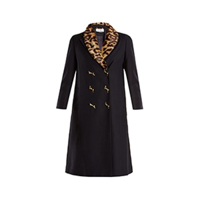 Double-Breasted Leopard-Print Collar Woven Coat