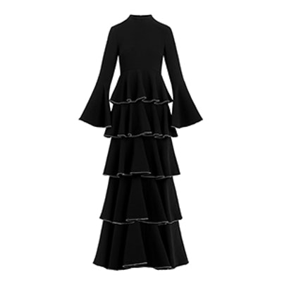 Paola Tiered Stretch-Crepe Bell-Sleeve Gown