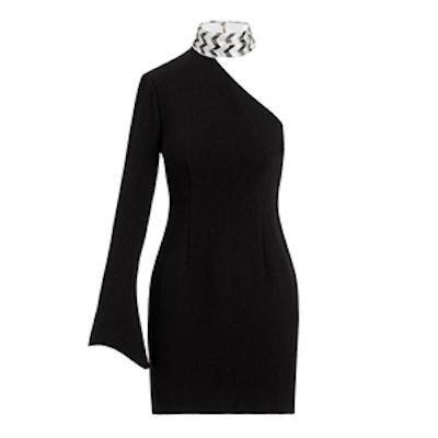 Quinton Chevron Embroidered Stretch-Crepe Mini Dress