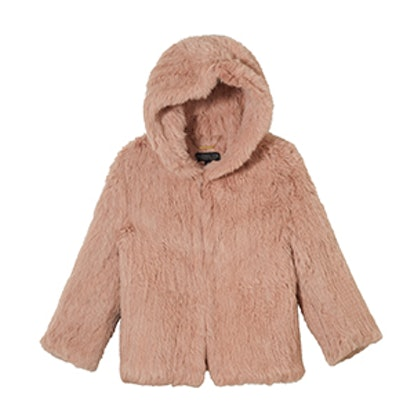 Rose Hooded Fur Jacket
