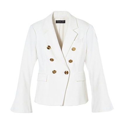 Sadie Double-Breasted Bell-Sleeve Twill Blazer