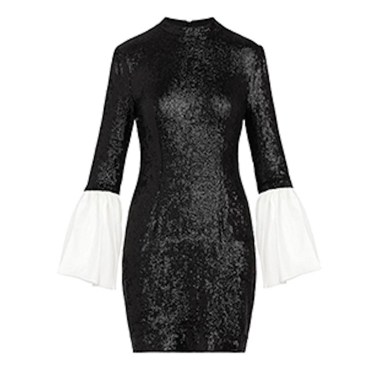 Wes Bell-Sleeve Fluid Sequin Dress