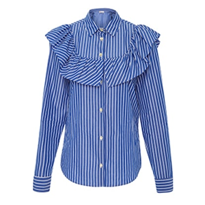 Ruffle-Trimmed Striped Blouse