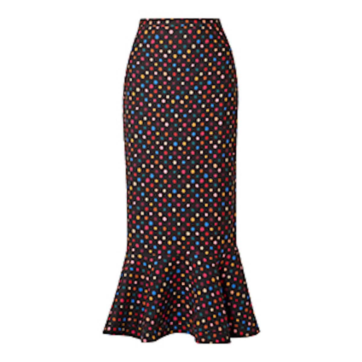 Saloni Portia Polka Dot Crepe Peplum Midi Skirt
