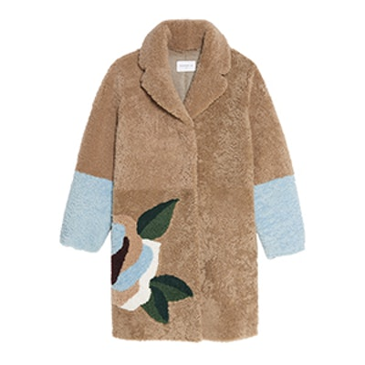 Shearling Coat with Flowers