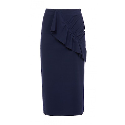 Bond Stretch Knit Asymmetric Ruffle Skirt