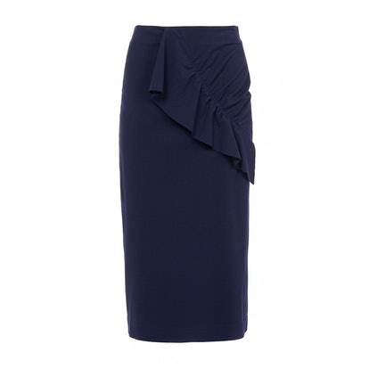 Bond Stretch Knit Asymmetric Ruffle Skirt