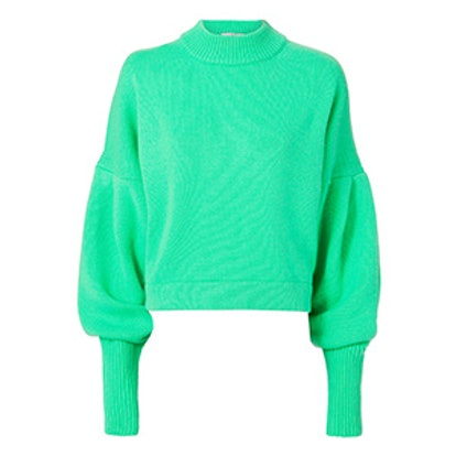 Bright Green Cropped Cashmere Pullover