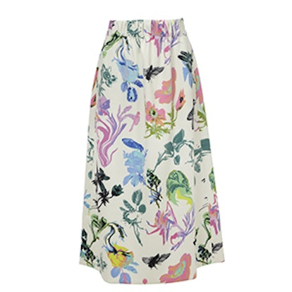 Gothic Floral Knit Smocked Waistband Skirt