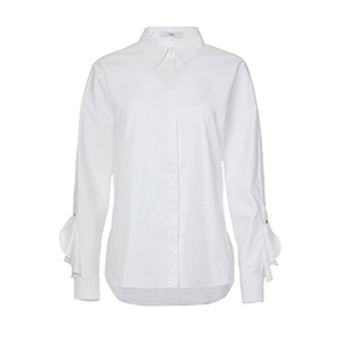 Satin Poplin Dolman Sleeve Ruffle Shirt
