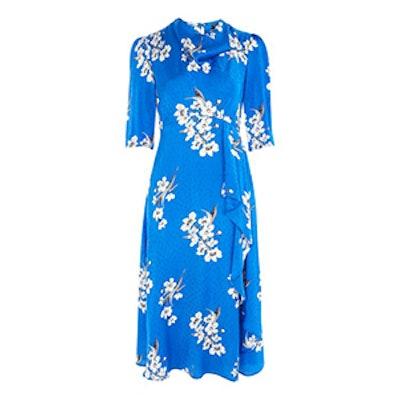 Floral Print Jacquard Midi Dress
