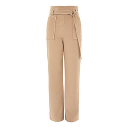 Topstitch Wide Leg Trousers