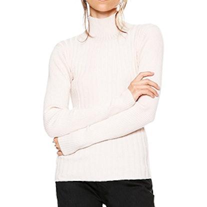 Arrow Rib Turtleneck Sweater Warm White