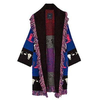 Jacquard Coat With Fringe