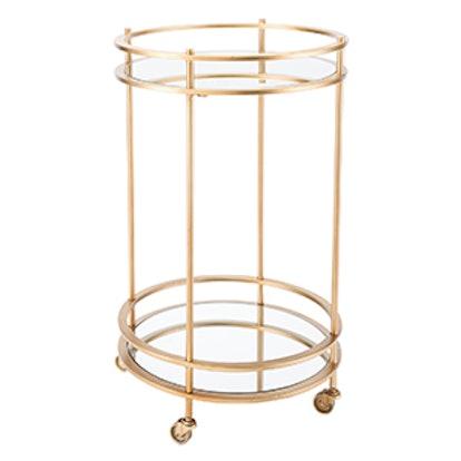 Modern Mirror and Steel Round Bar Cart
