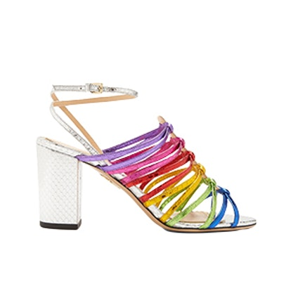 Rainbow Snakeskin-Effect Leather Sandals