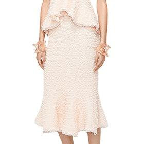 Ruffle Knit Fluted Skirt