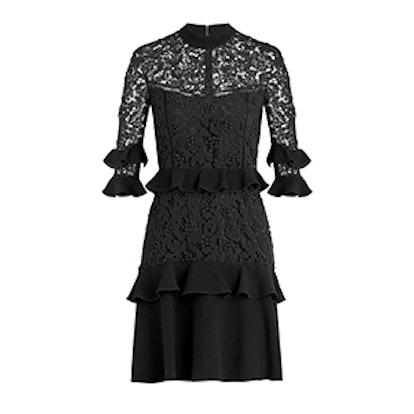 Janina Garden Lace Ruffled Mini Dress
