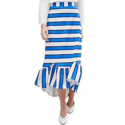 SScuba Midaxi Skirt With Scallop Hem In Stripe