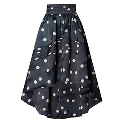 Asymmetric Polka-Dot Silk-Organza Skirt