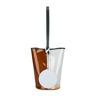 Brown Clear Basket PVC Bucket Bag