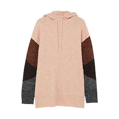Brunilde Hooded Metallic-Paneled Knitted Sweater