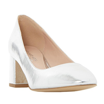 Flared Block Heel Court Shoe In Alisa Silver