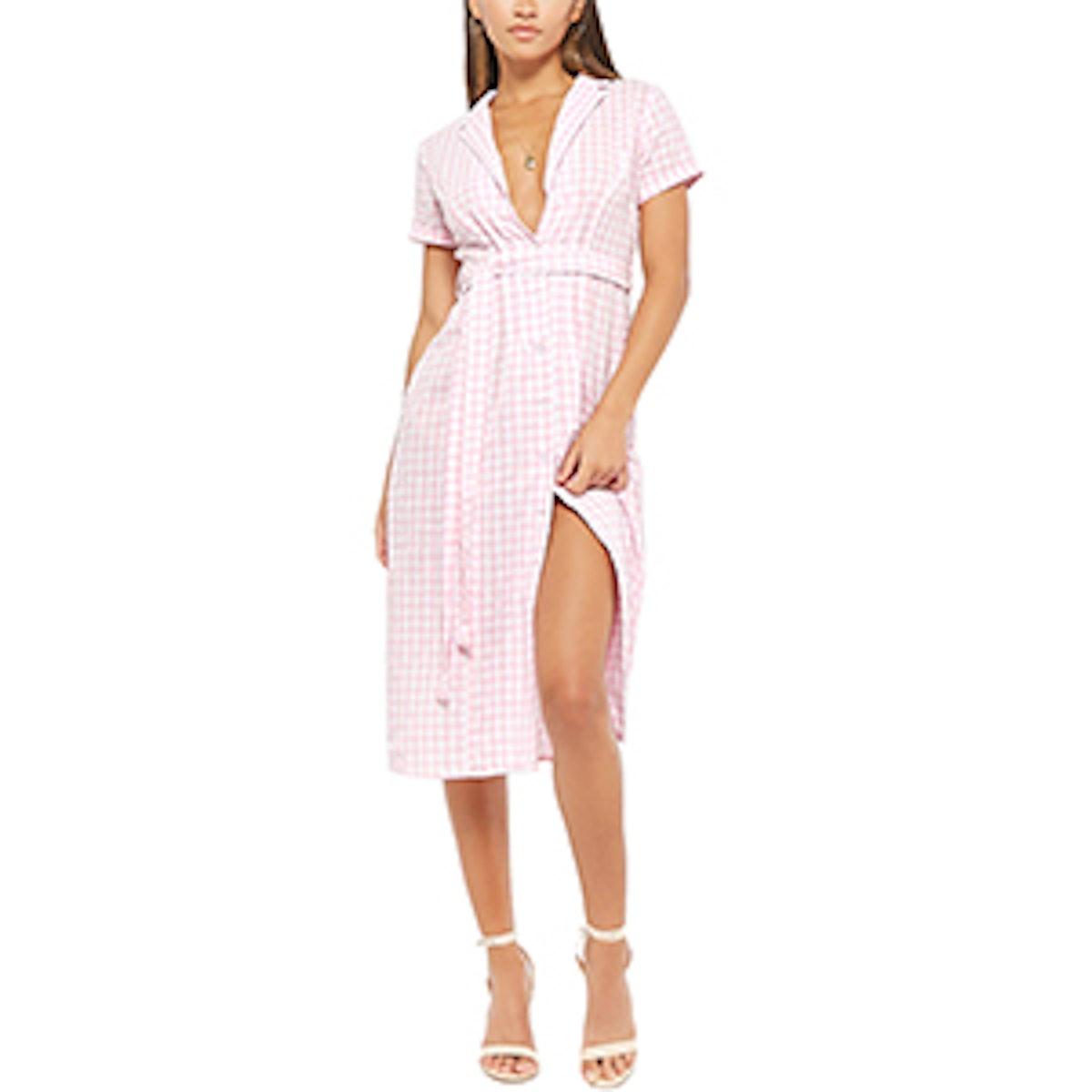 Self-Tie Gingham Shirt Dress