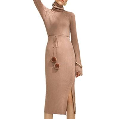 Stretch Knit Wool Blend Midi Dress