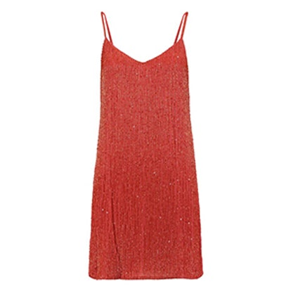 Sequin-Embellished Beaded Silk-Chiffon Mini Dress